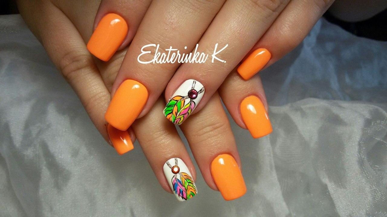 Маникюр гель лак оранжевый дизайн фото