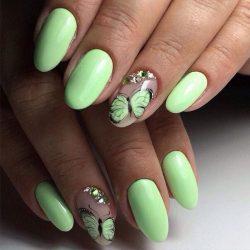 Салатовый дизайн ногтей
