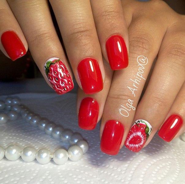 Алые ногти дизайн фото