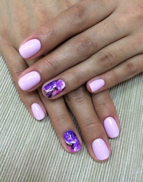 Маникюр розово-фиолетовый