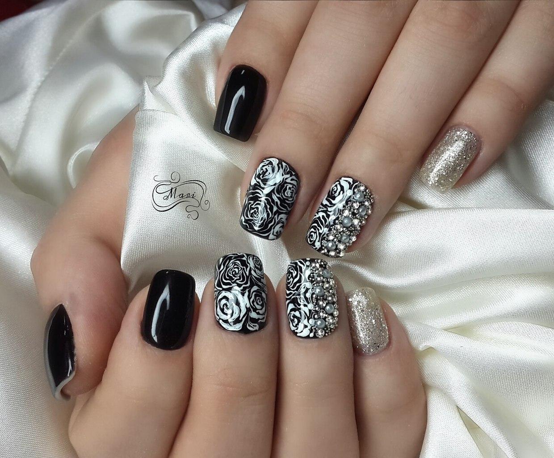 ногти с серебром фото