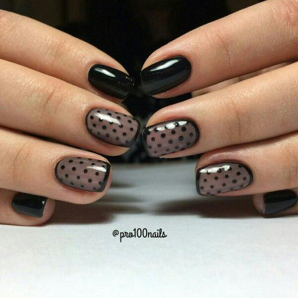 Дизайн ногтей к платью в горошек