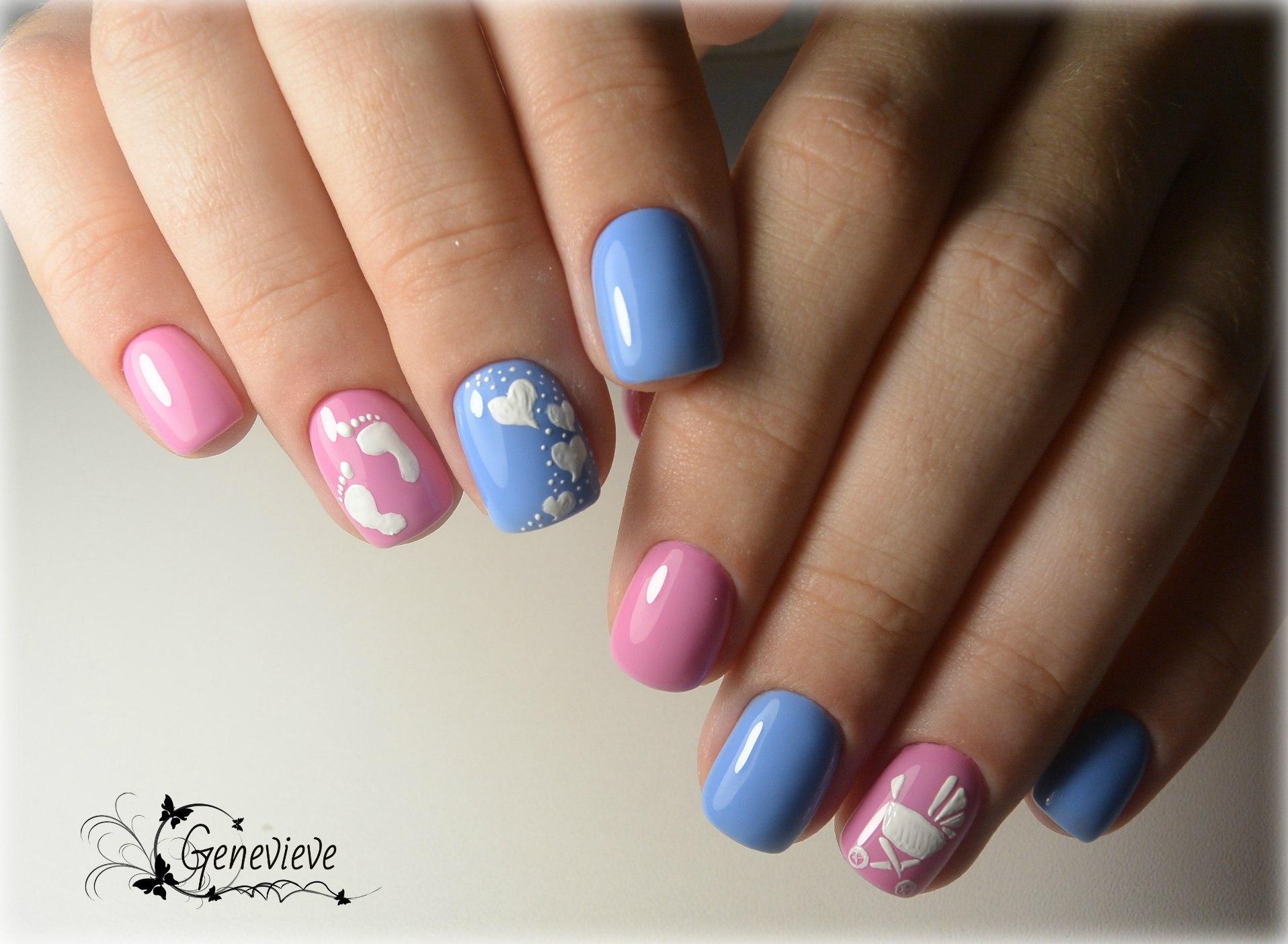 Розово голубой дизайн ногтей