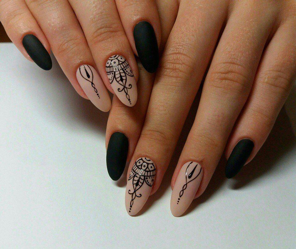 Стильная роспись ногтей фото