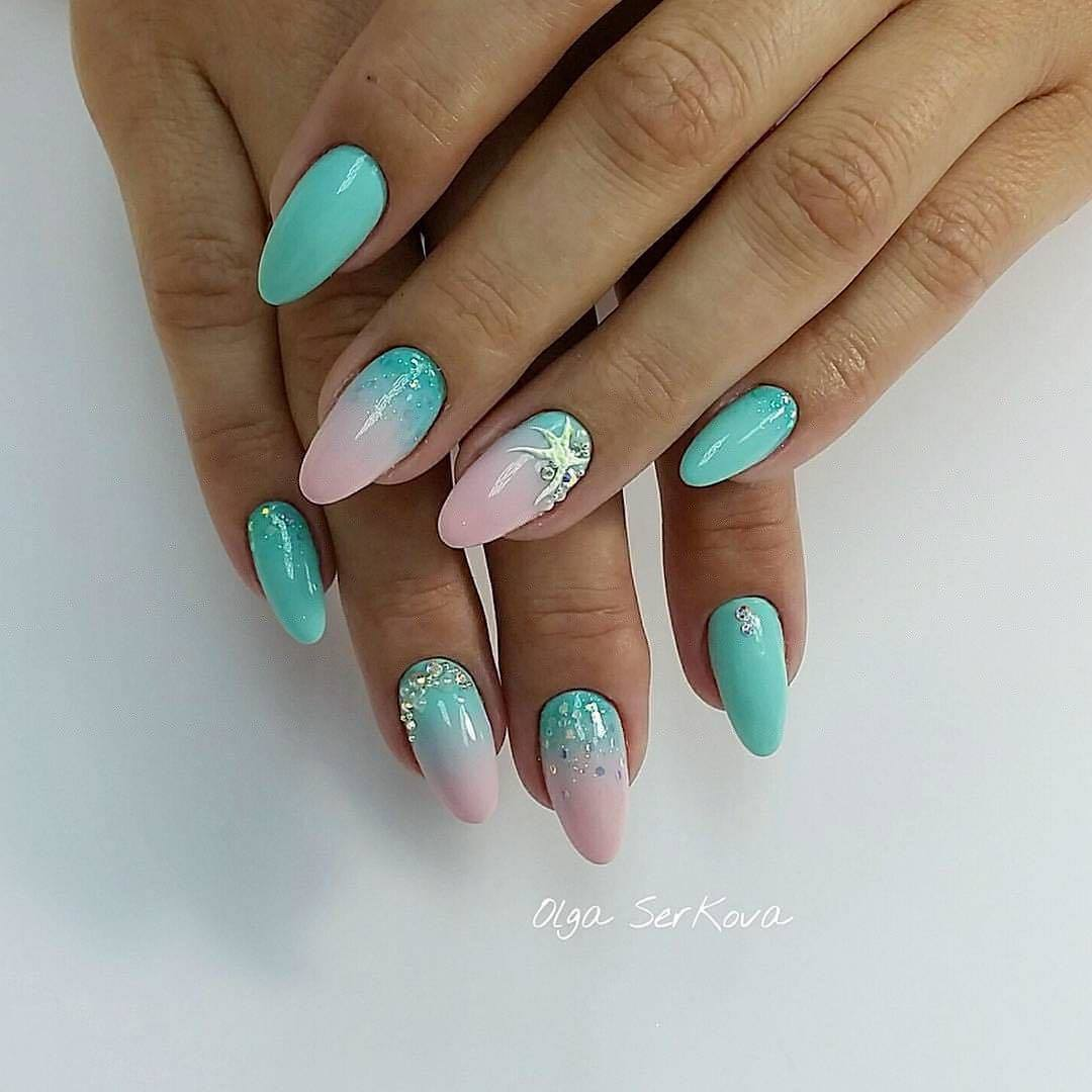 Дизайн ногтей бирюза с розовым