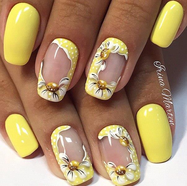 Дизайн ногтей желтый цвет