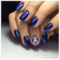 Синий маникюр фото