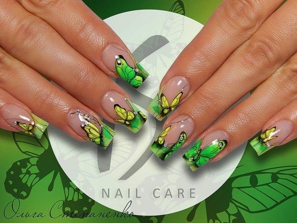 Дизайн ногтей френч цветной