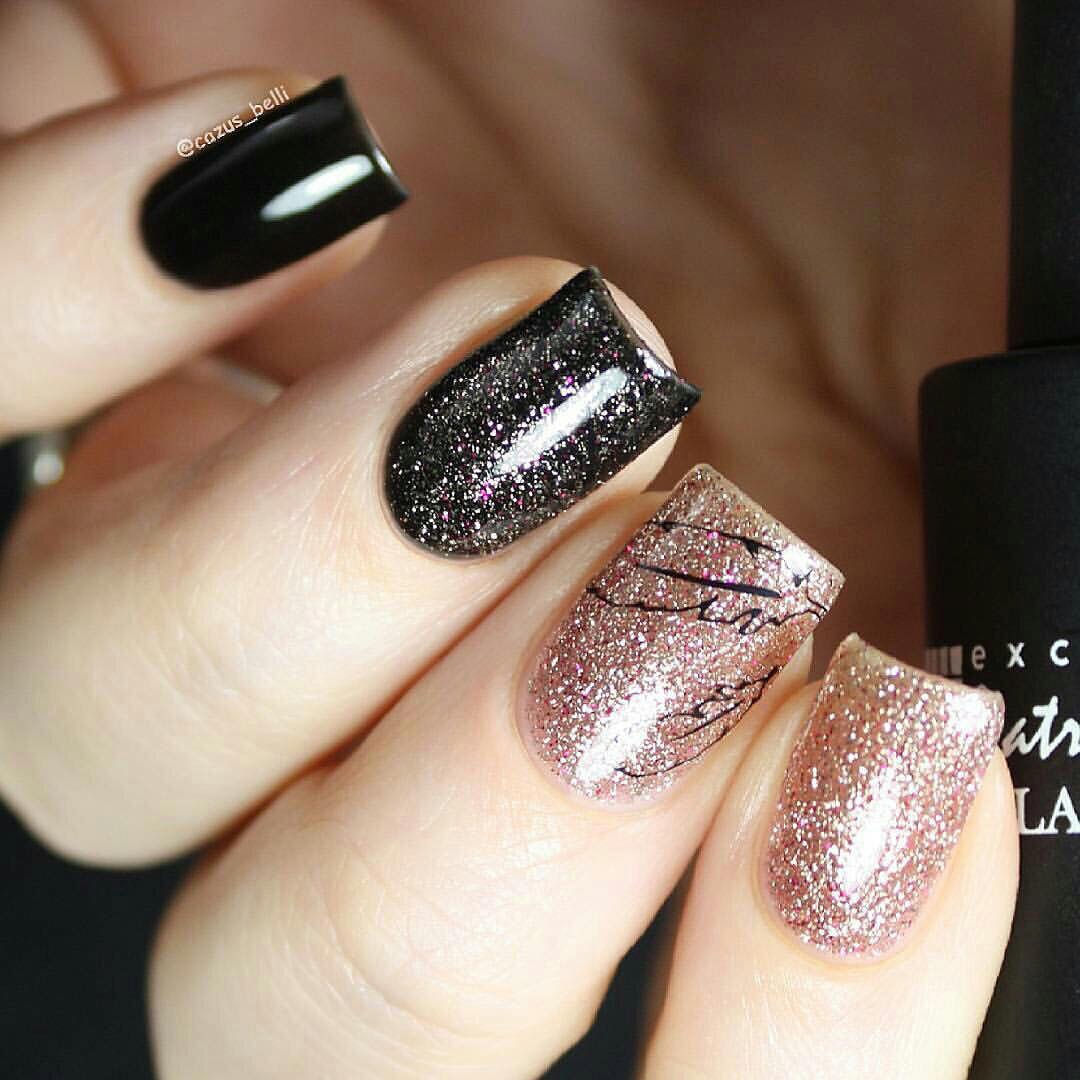 Маникюр ногтей с блестками на наращенные и короткие ногти. Как сделать 34