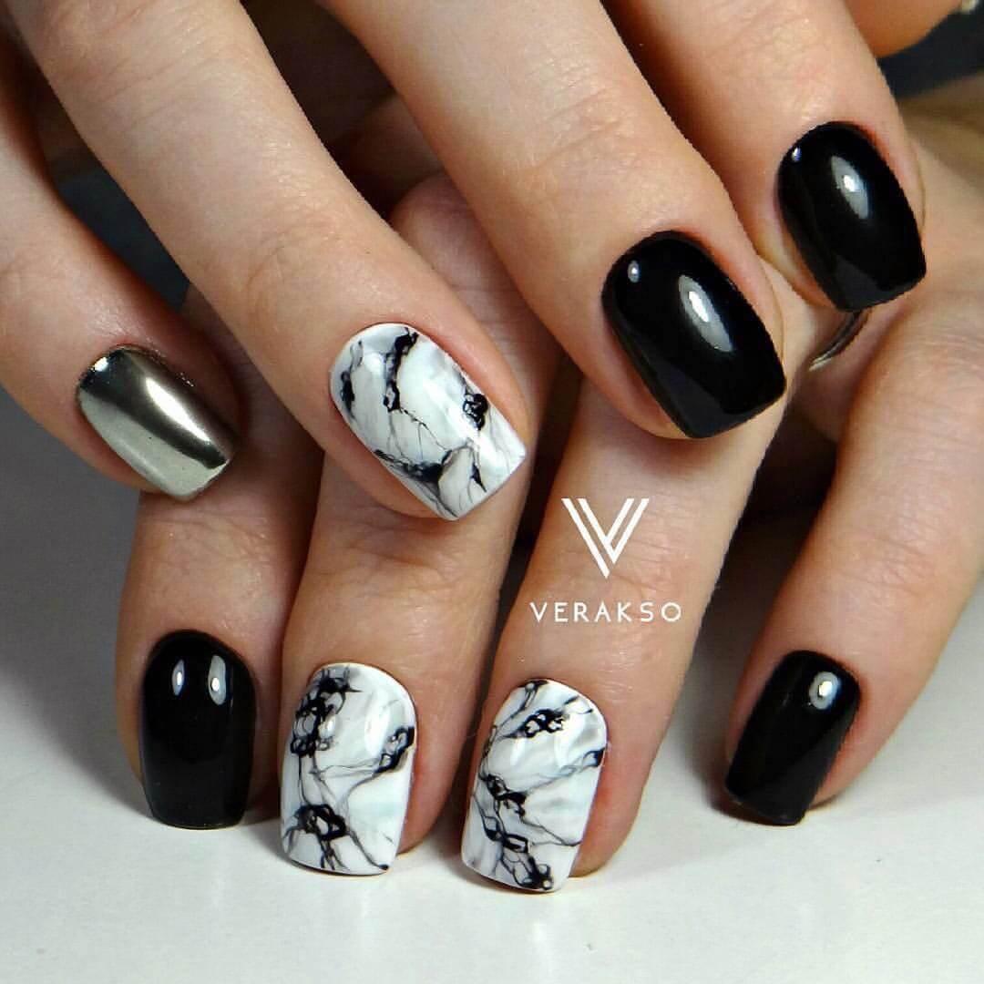 Дизайн ногтей черно белые