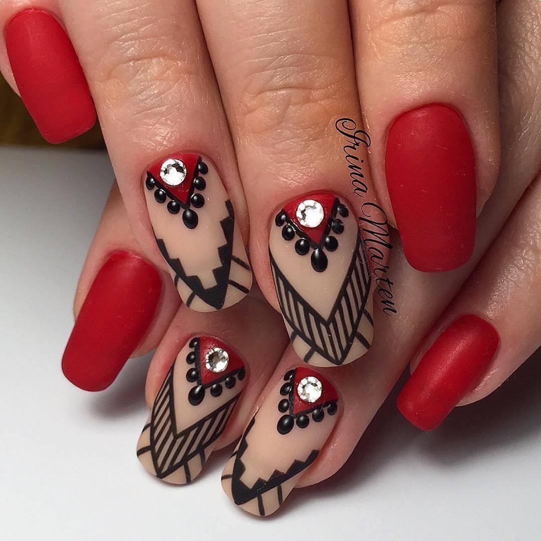Дизайн ногтей 2017 красный с рисунком