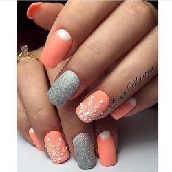 Ногти персиковый цвет дизайн