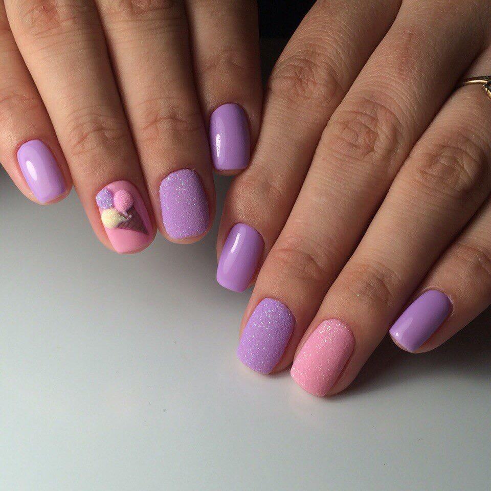 Мороженое дизайн на ногтях