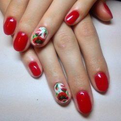 Дизайн ногтей красный с белым фото