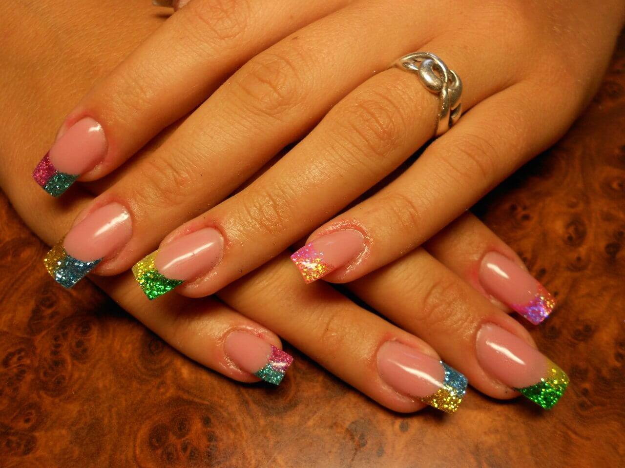Френч ногти цветной