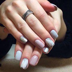 Мраморный дизайн ногтей фото