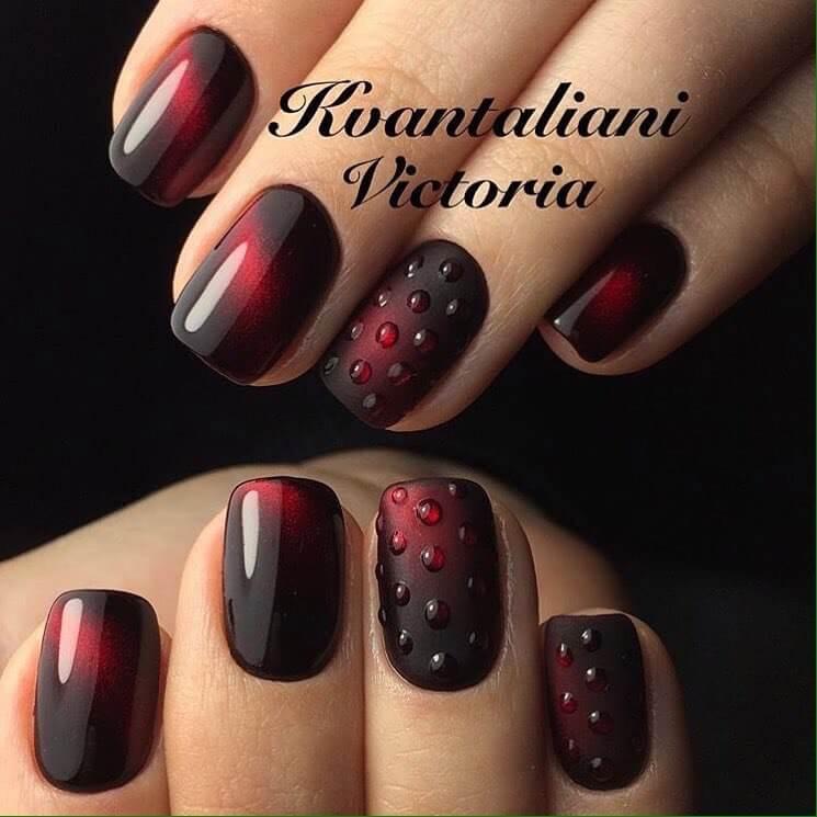 Дизайн бордовых ногтей