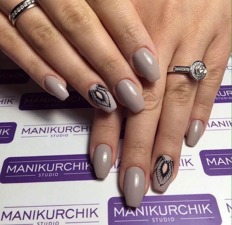 Нейтральный маникюр на коротких ногтях 2017