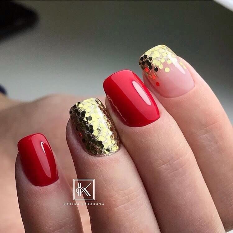 29 фото маникюр красно золотого цвета двухцветный дизайн 79