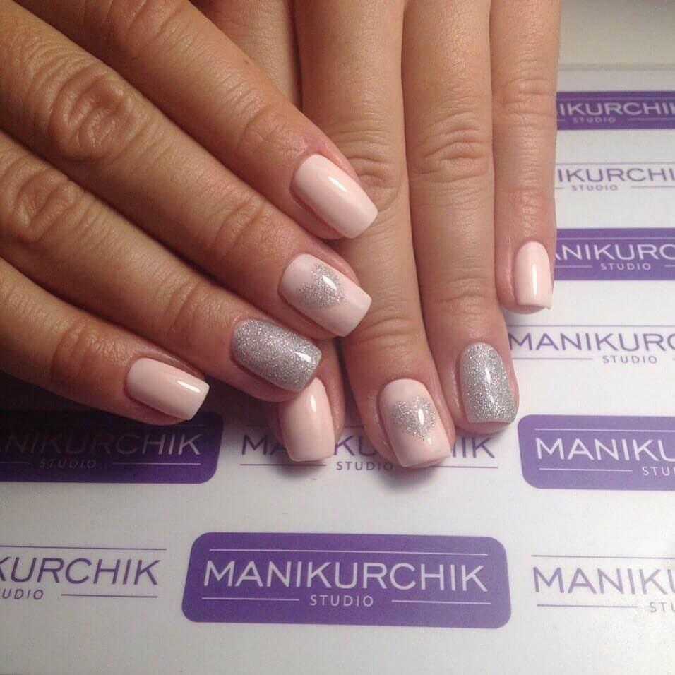 Бледно-розовый шеллак фото дизайн ногтей