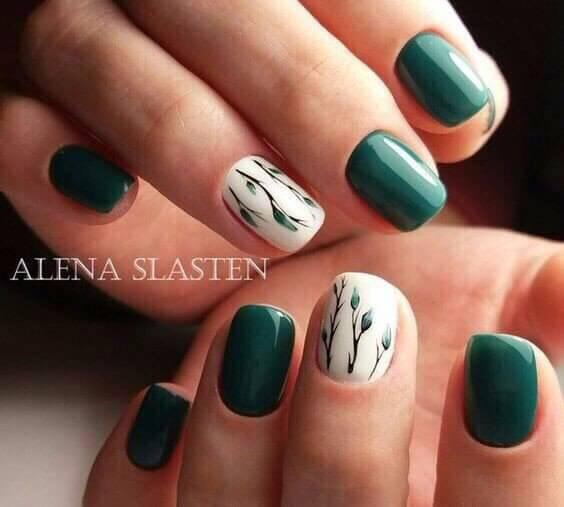 Дизайн ногтей в зеленых тонах фото