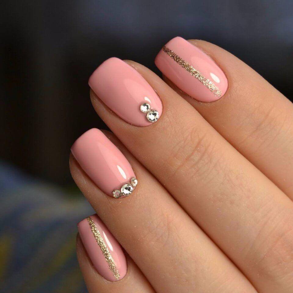 Ногти розовый с серебристым 40