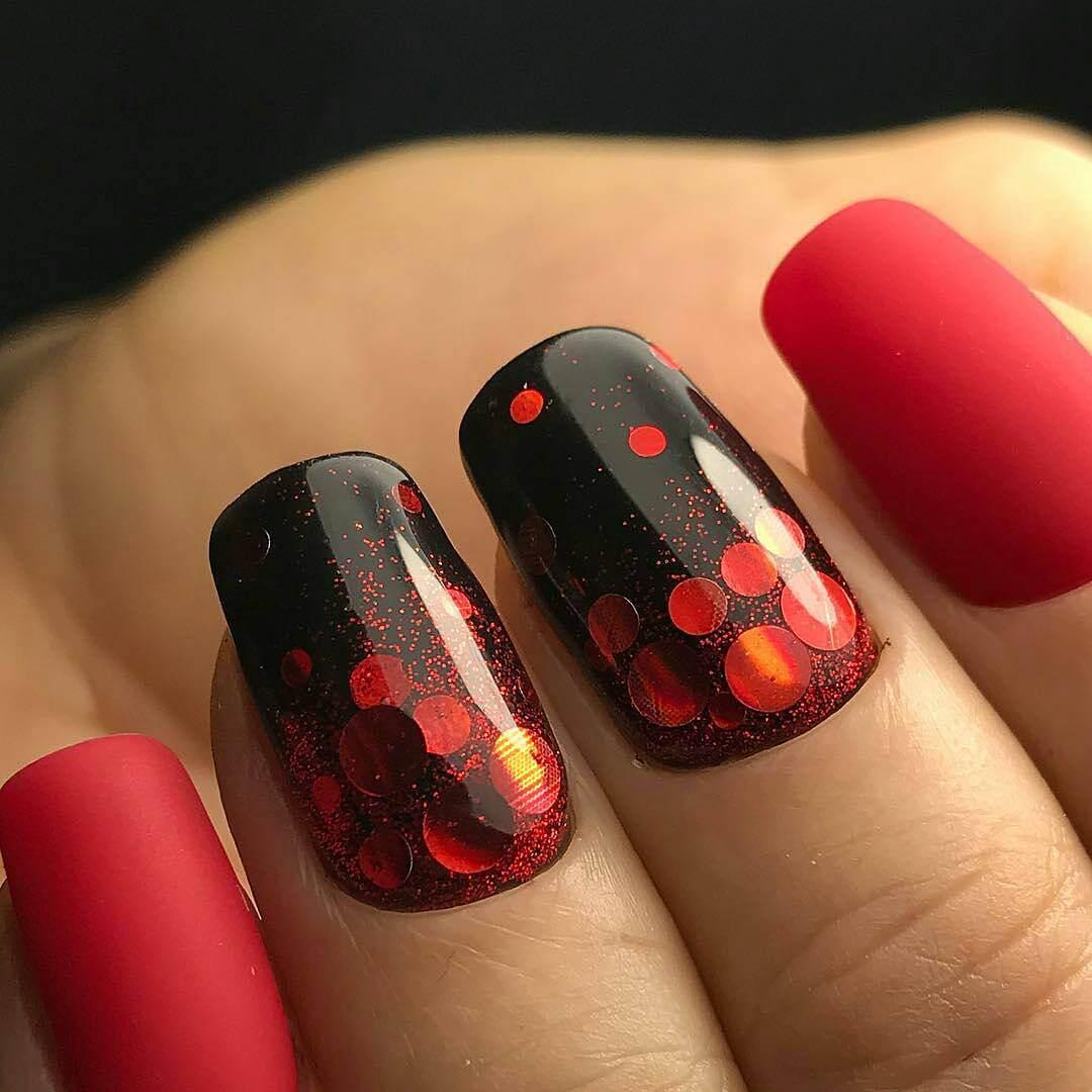 Дизайн ногтей фото красно-черный