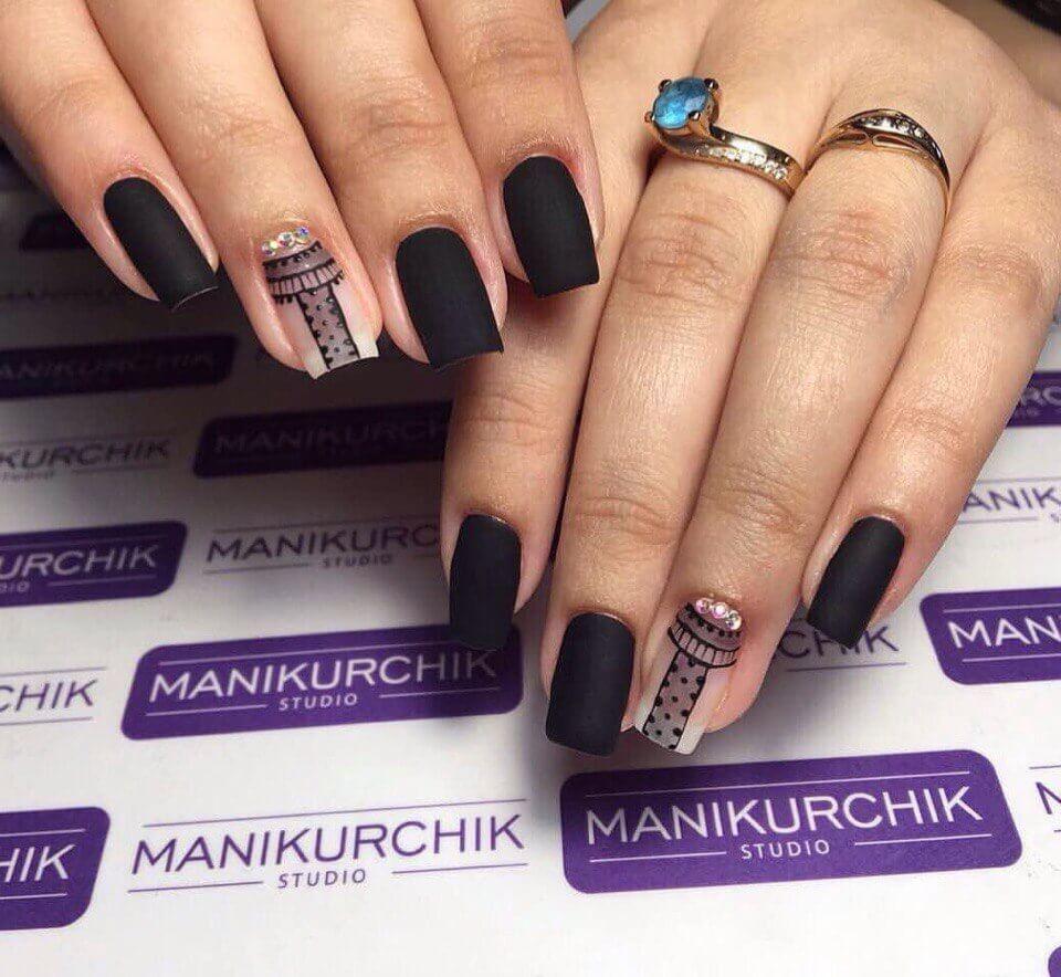 Матовый дизайн ногтей с цветами фото