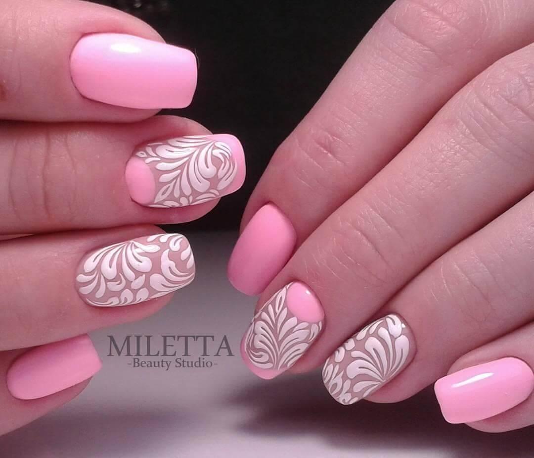 Дизайн ногтей с розовым цветом 2018 новинки весна