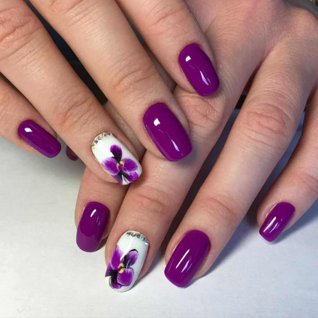 Орхидея дизайн ногтей
