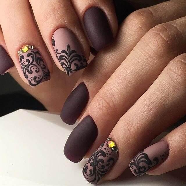 Дизайн матовых ногтей новинки