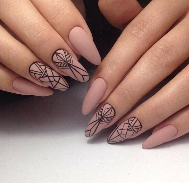 Красивый маникюр на миндалевидные ногти