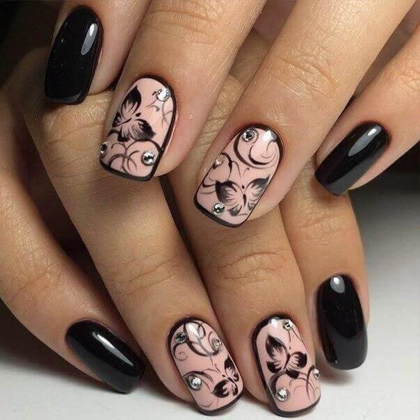 Шеллак розовый с черным дизайн