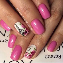 Идеи розового маникюра фото