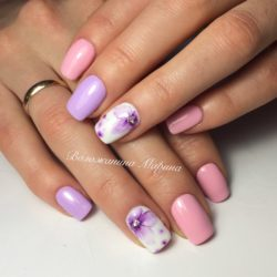 Двухцветные ногти фото