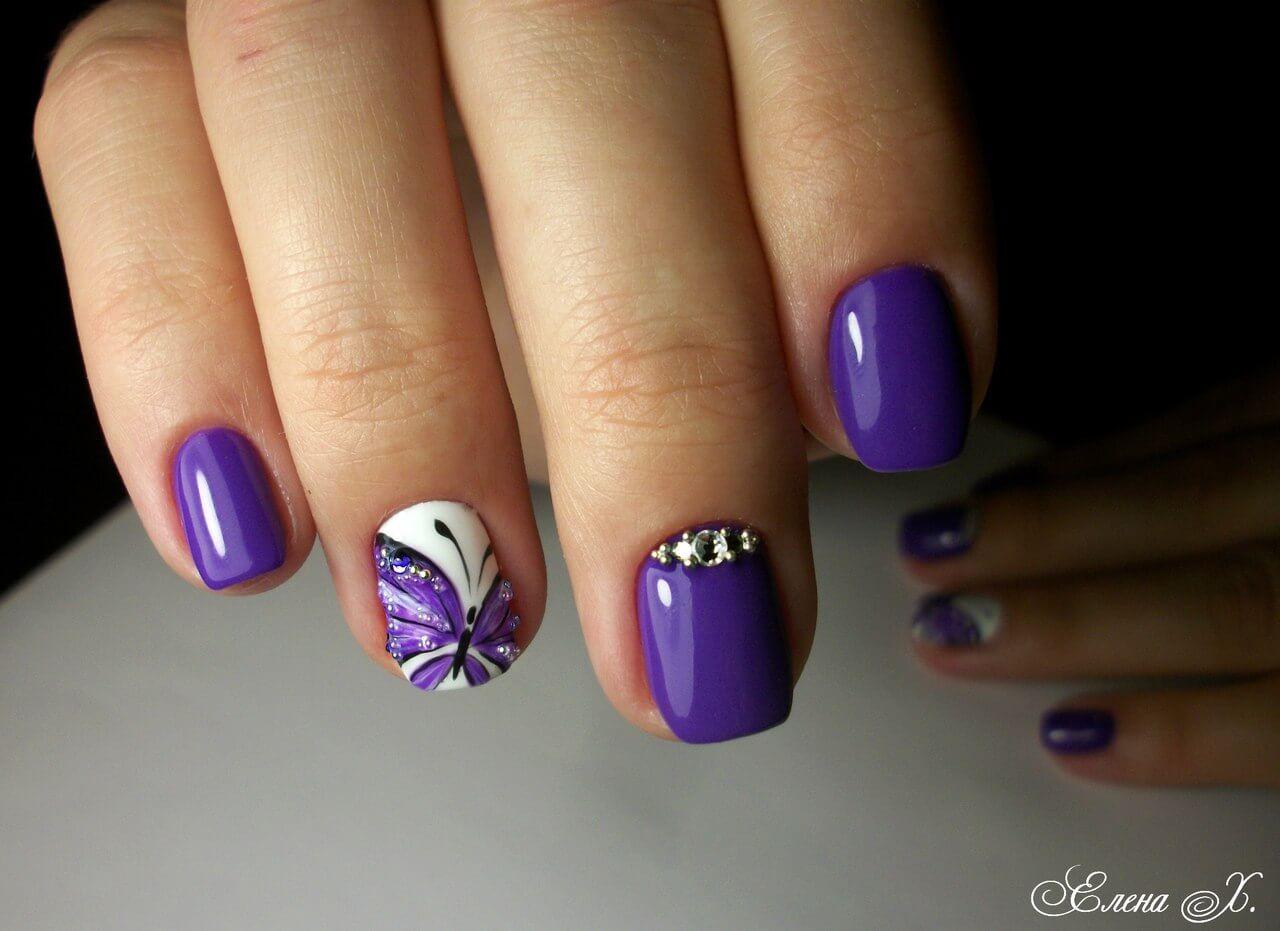 Сиреневый маникюр на коротких ногтях фото