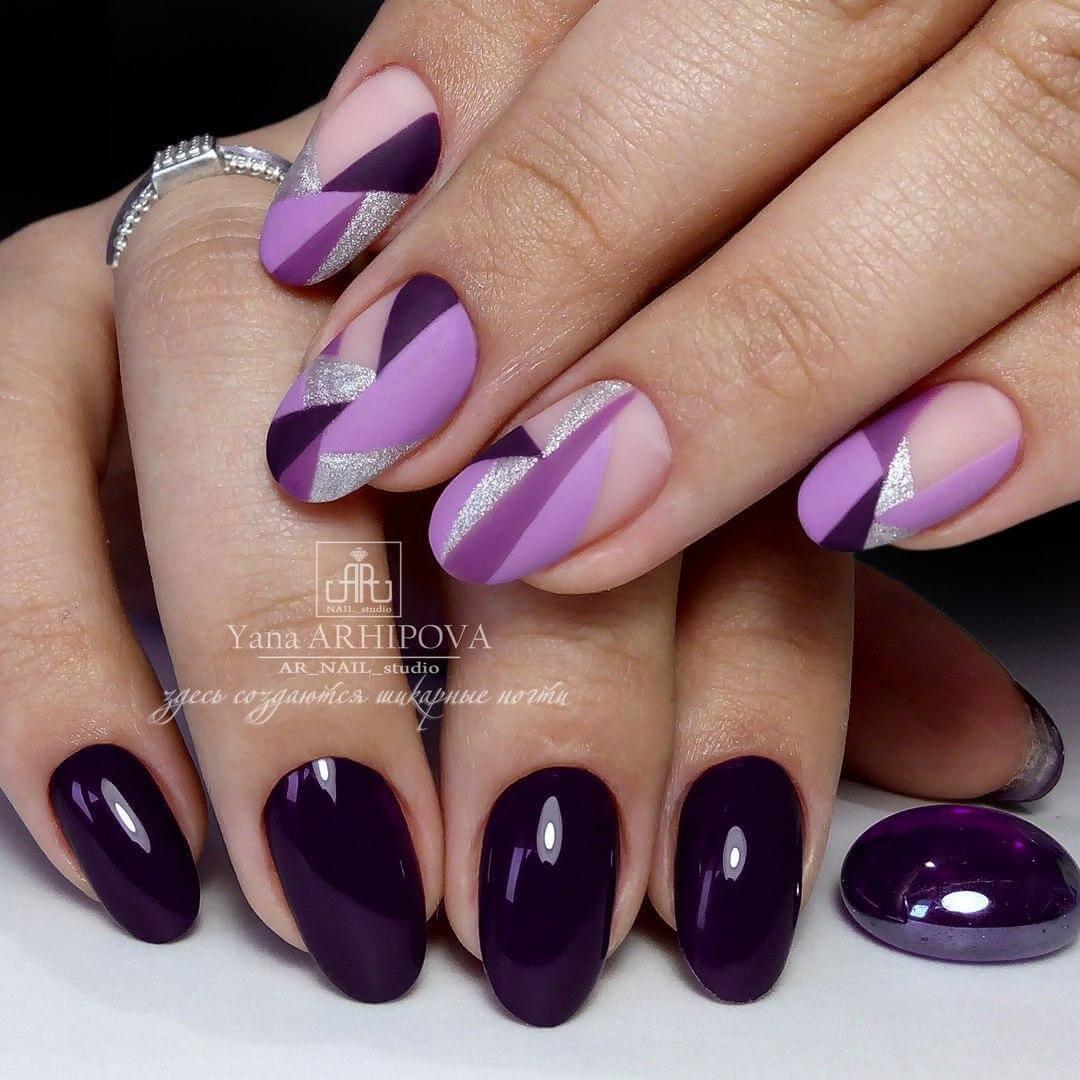 Дизайн ногтей фиолетового цвета с рисунком фото