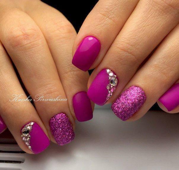 Дизайн ногтей малиновый цвет