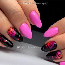 Дизайн розово-черных ногтей фото