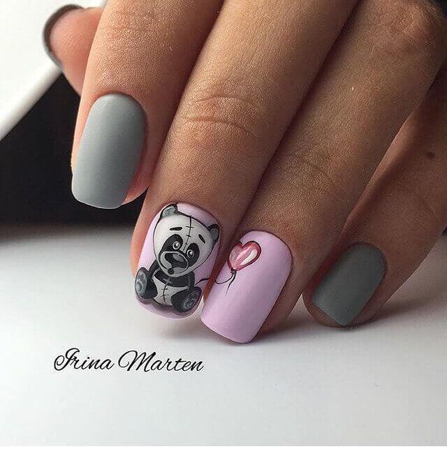 Дизайн ногте с мишками 38