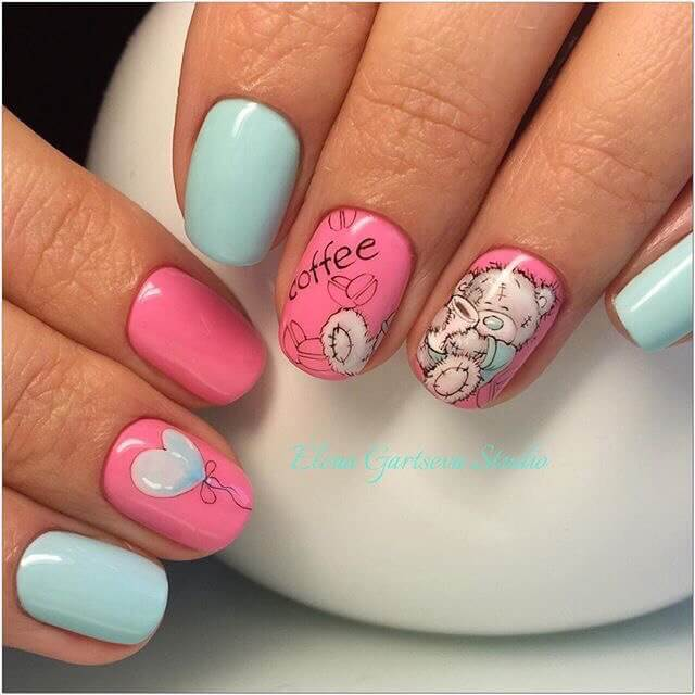 Дизайн ногте с мишками 73