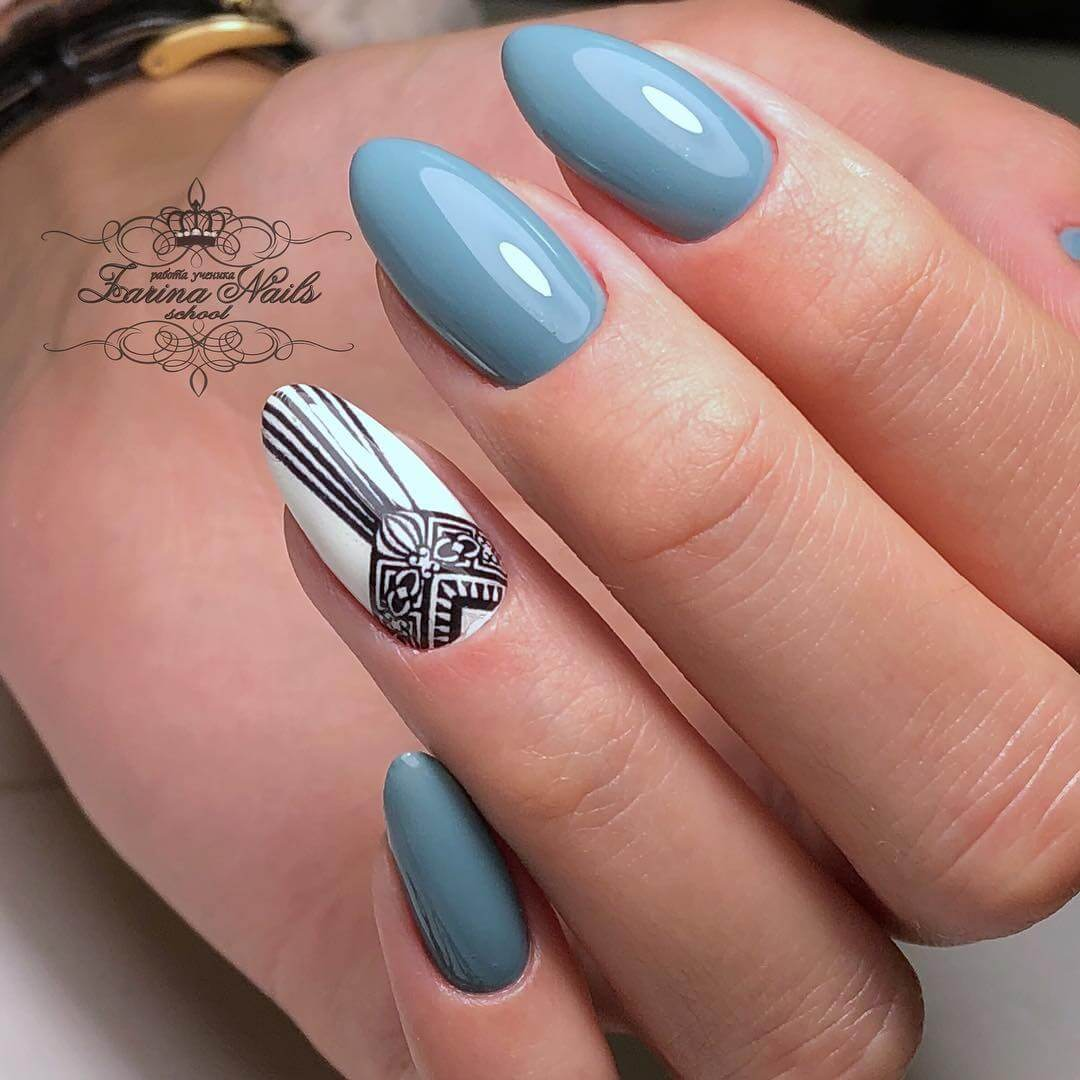 Фото ногтей с рисунком овальные