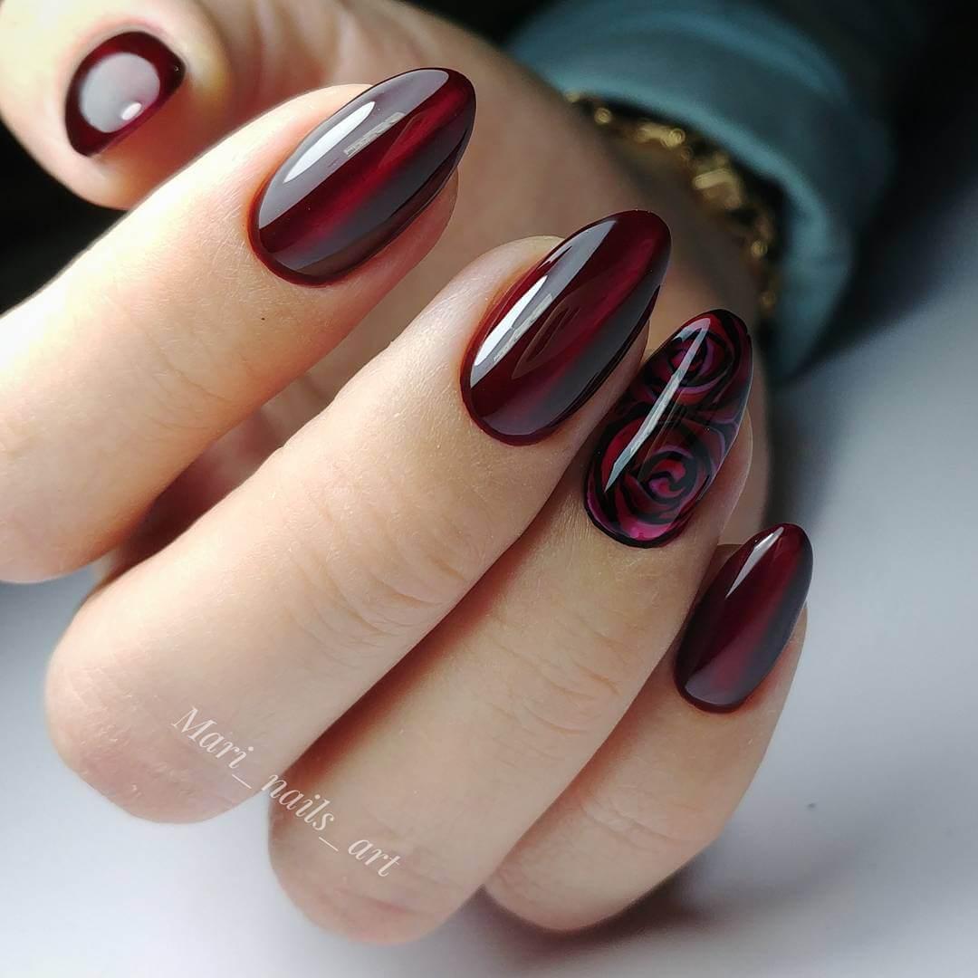 верхний дизайн ногтей темно красный
