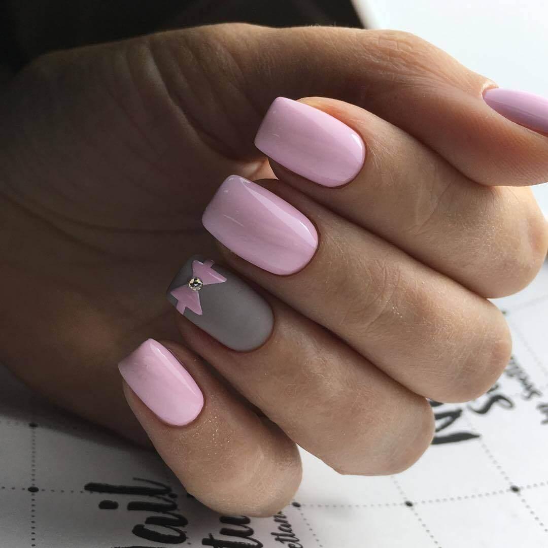 Серо розовый маникюр гель лаком фото