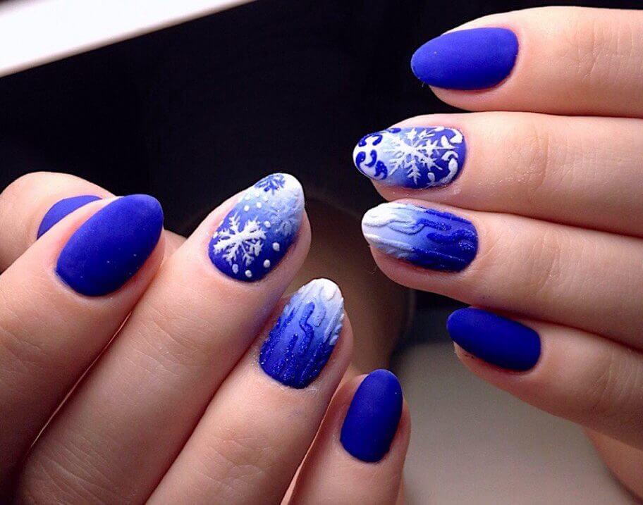 Бело-синий маникюр - фото идей дизайна ногтей - Best Маникюр