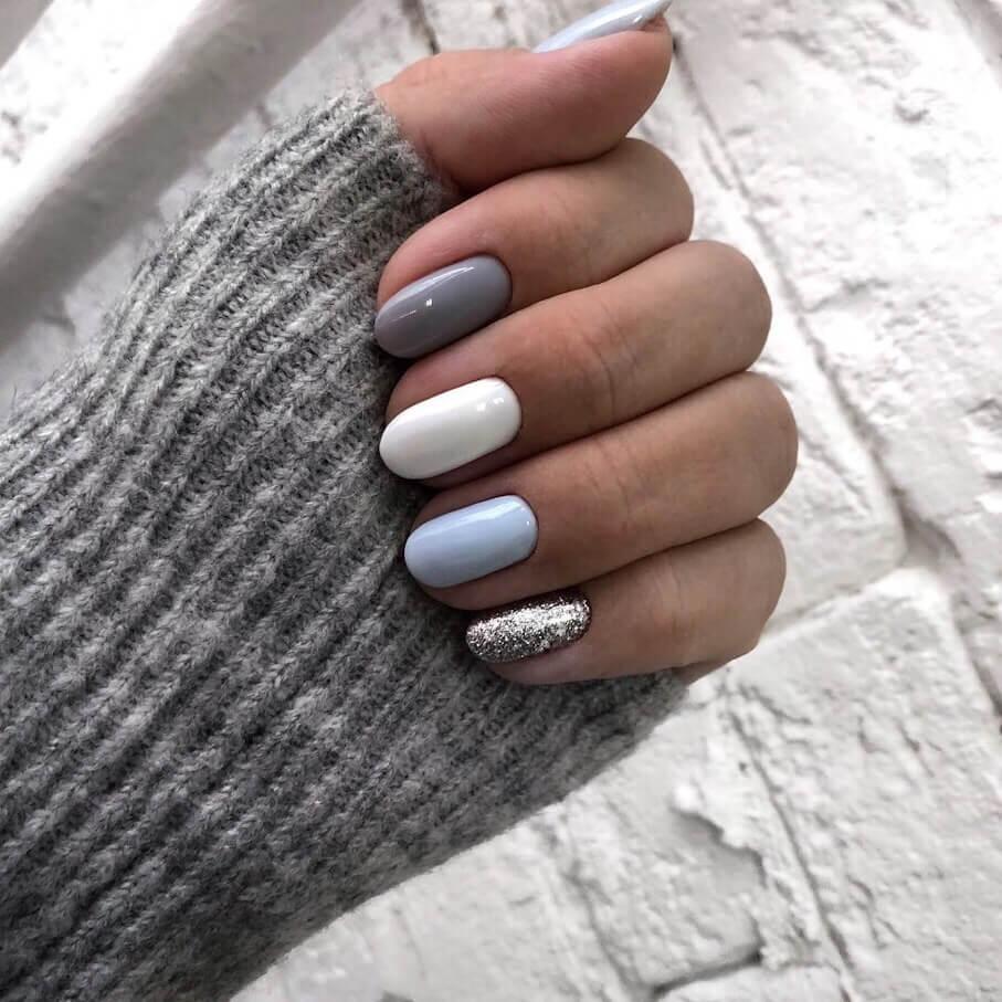 Удивительно дизайн ногтей в блестящих тонах с блестками