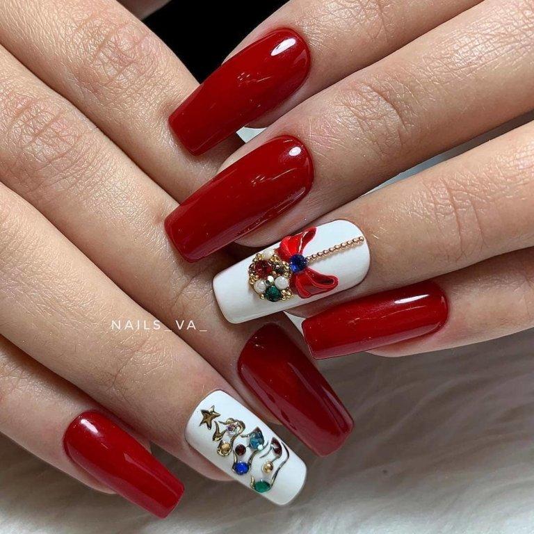 Красно-белый маникюр