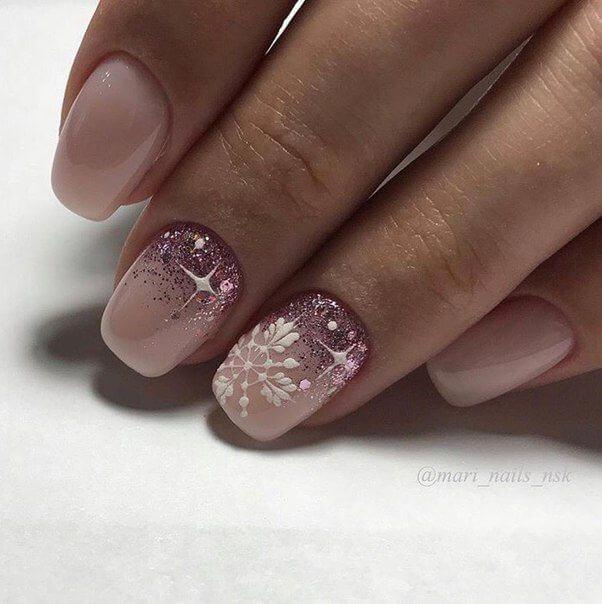 Картинки ногтей с блестками один ноготь